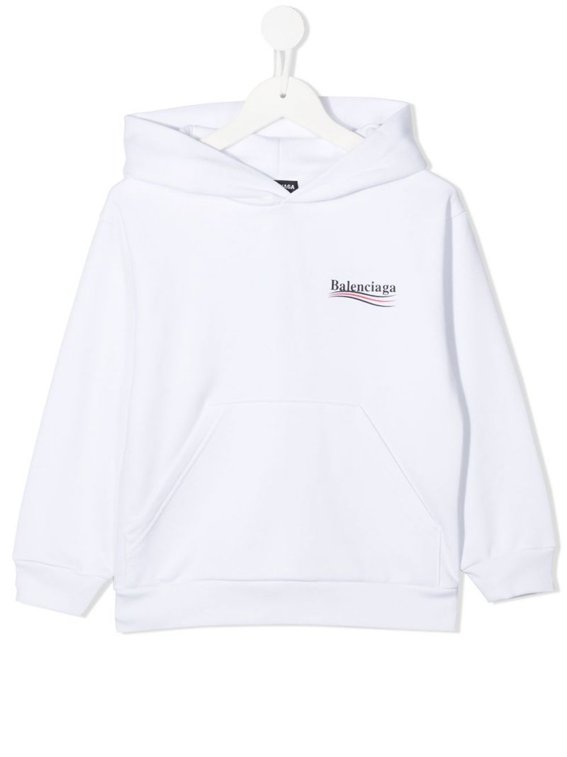 BALENCIAGA KIDS: Balenciaga logo print cotton hoodie Color Black_1