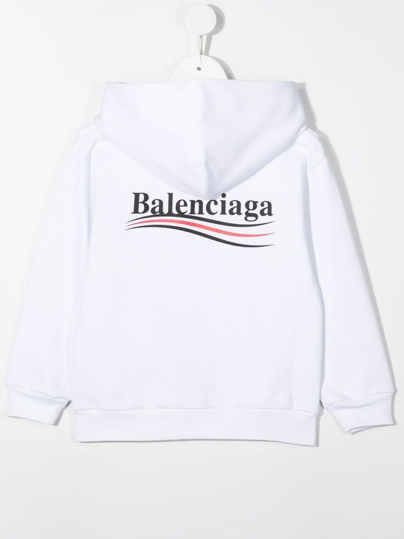 BALENCIAGA KIDS: Balenciaga logo print cotton hoodie Color Black_2