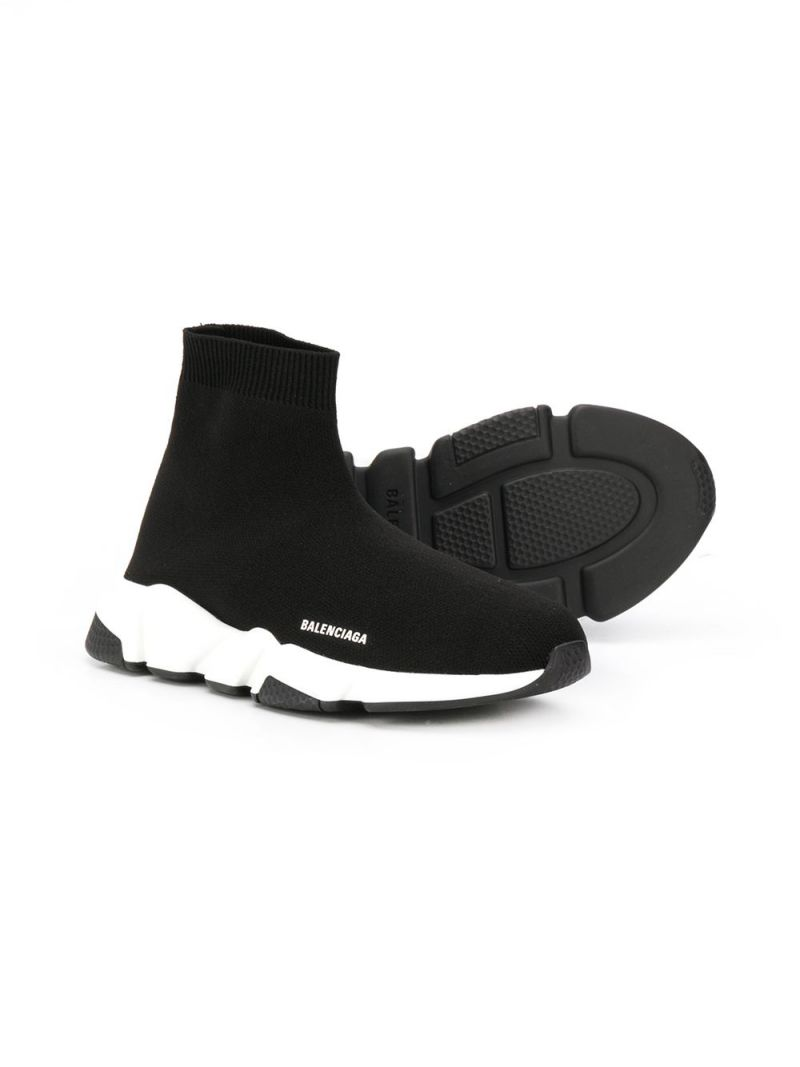 BALENCIAGA KIDS: Speed stretch knit trainers Color Black_2