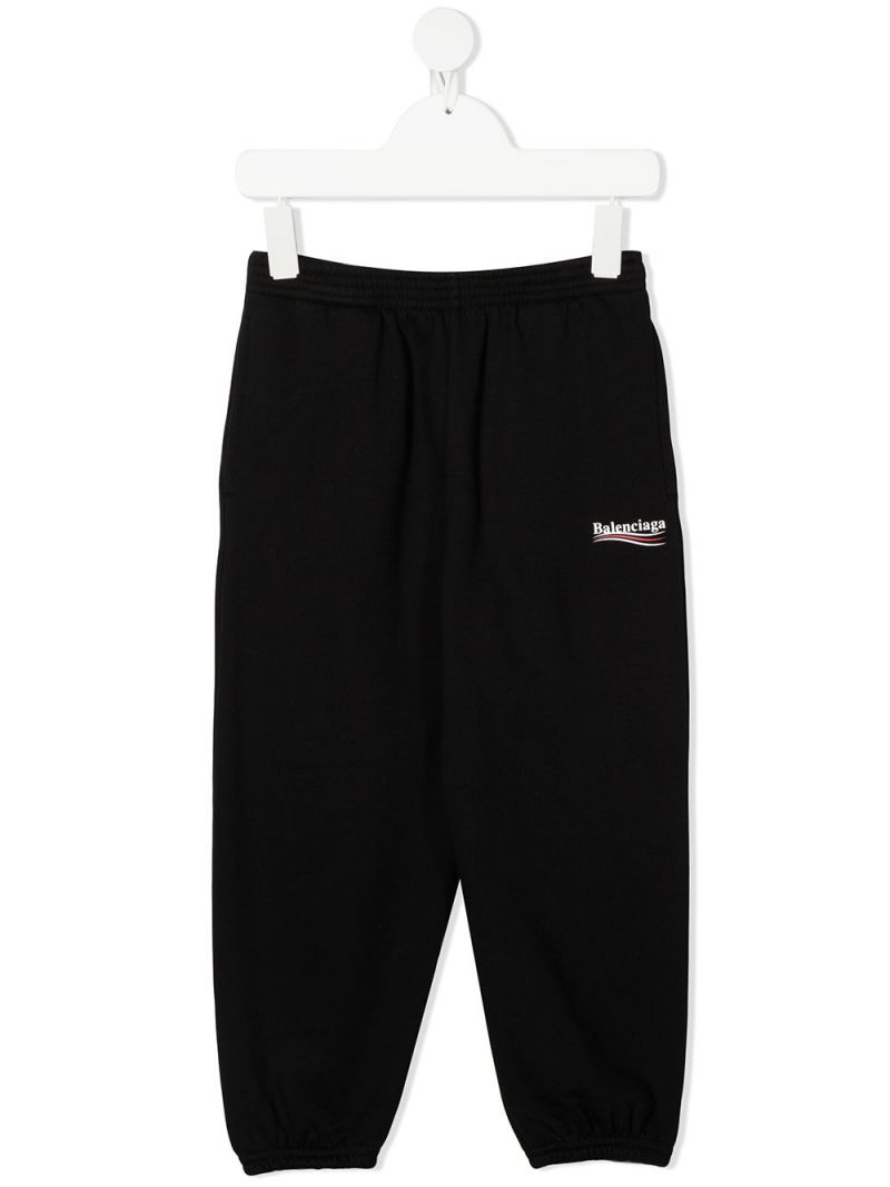 BALENCIAGA KIDS: Balenciaga logo print cotton joggers Color Black_1