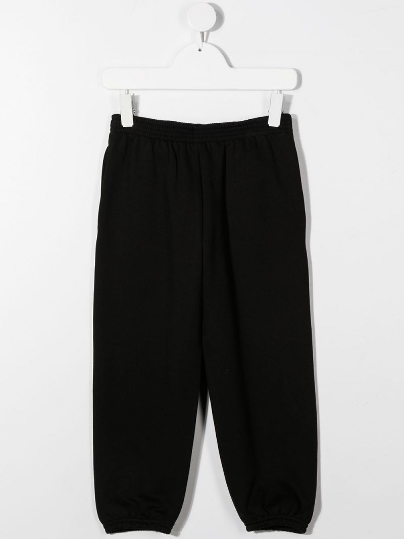 BALENCIAGA KIDS: Balenciaga logo print cotton joggers Color Black_2