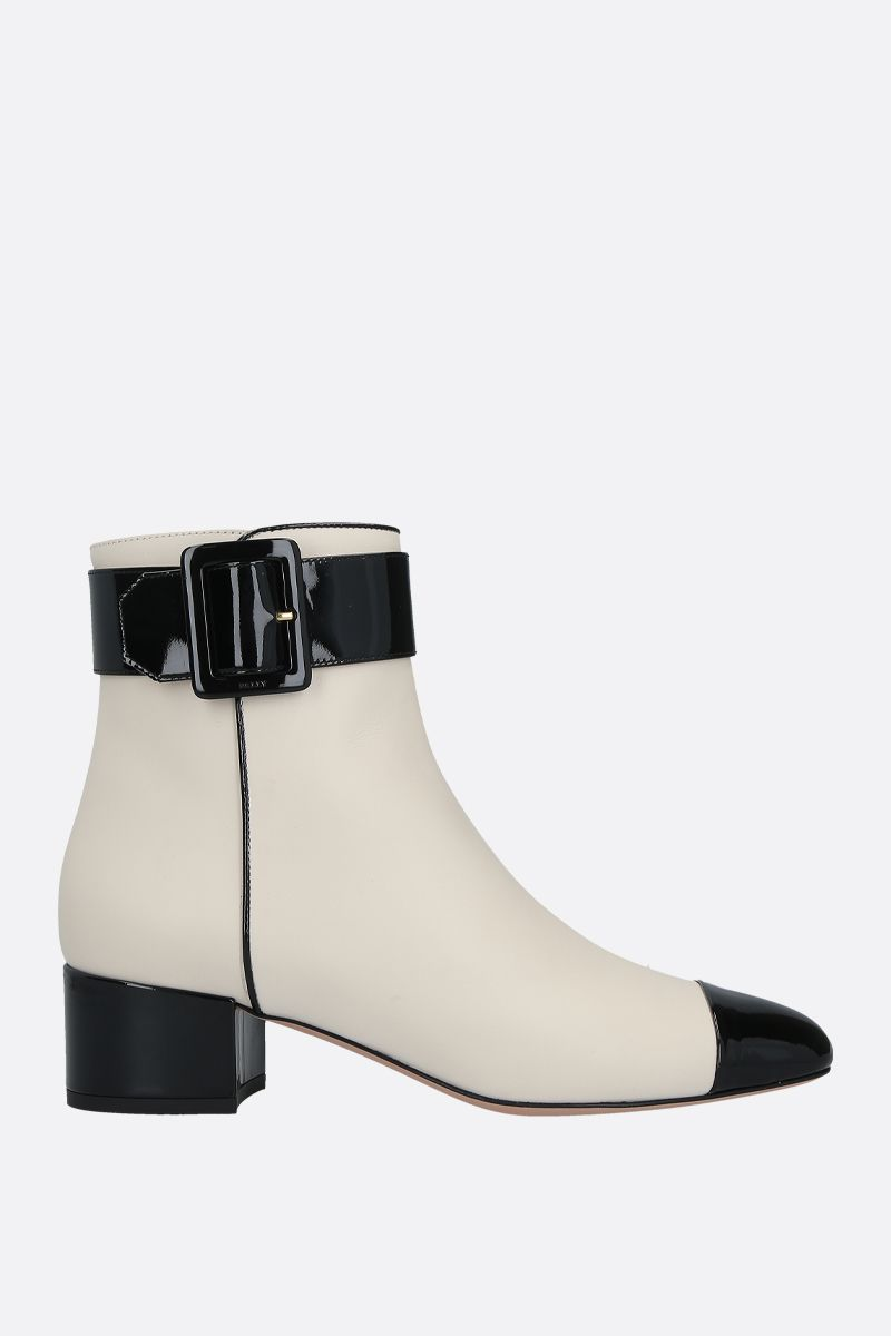 BALLY: Jay smooth and patent leather ankle boots Color Neutral_1