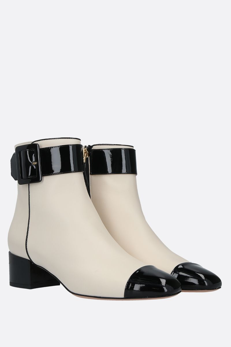 BALLY: Jay smooth and patent leather ankle boots Color Neutral_2