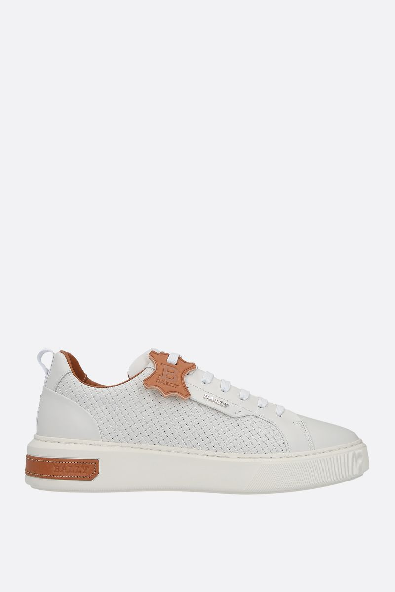 BALLY: Mickey smooth and woven leather sneakers Color White_1