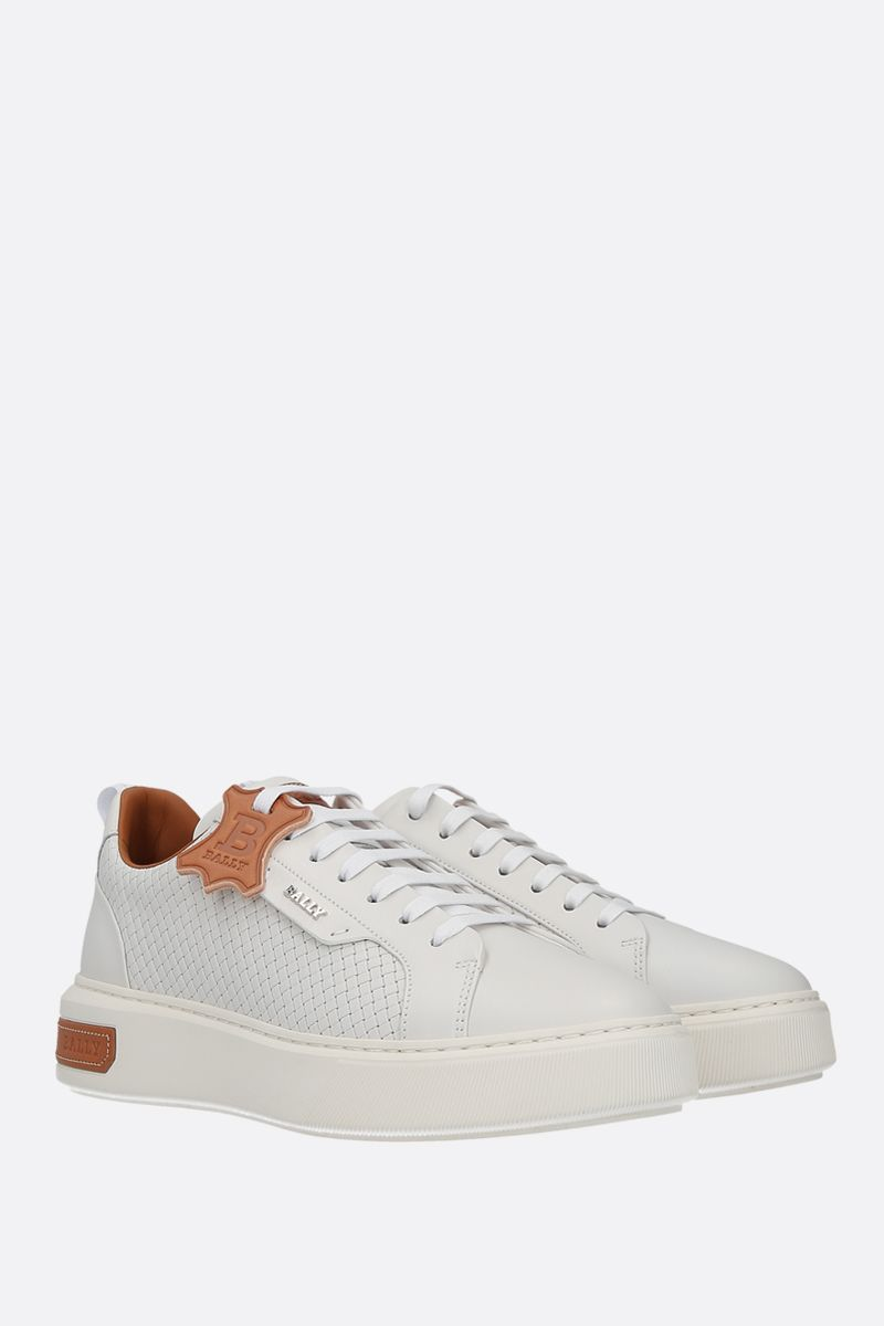 BALLY: Mickey smooth and woven leather sneakers Color White_2