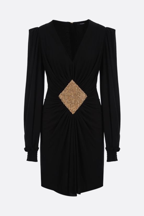 BALMAIN: rhombus embroidered jersey minidress Color Black_1