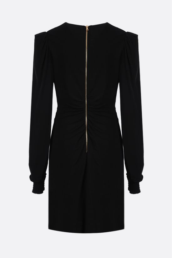 BALMAIN: rhombus embroidered jersey minidress Color Black_2