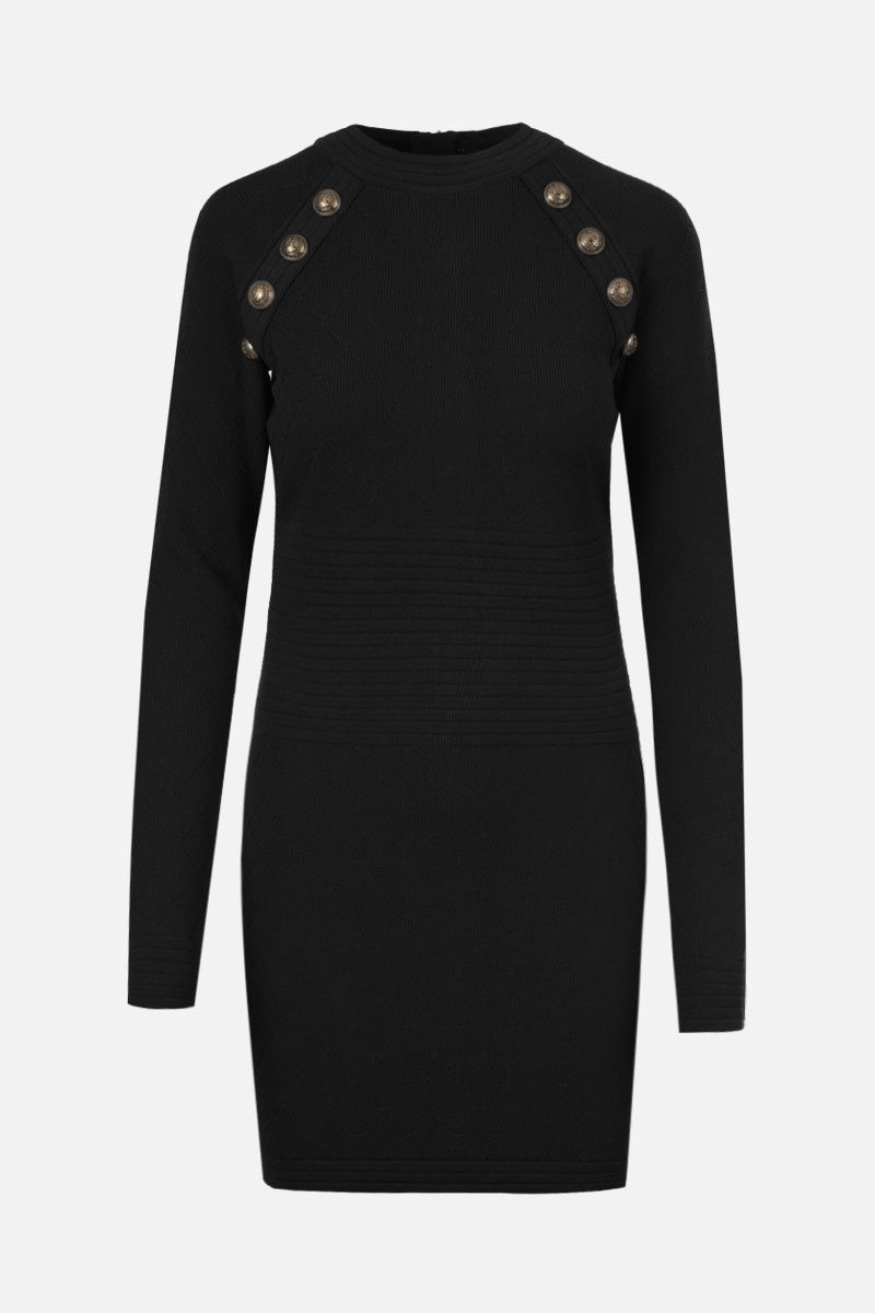 BALMAIN: argyle-motif stretch viscose minidress Color Black_1