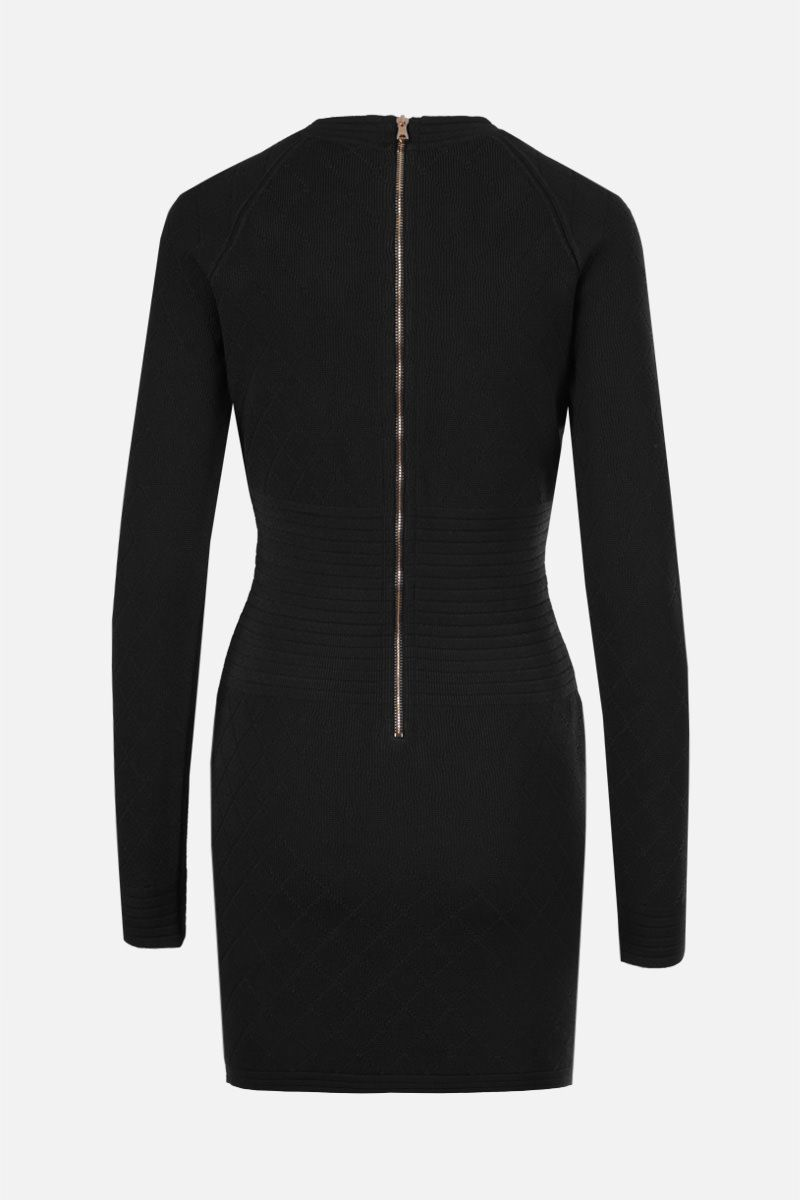 BALMAIN: argyle-motif stretch viscose minidress Color Black_2