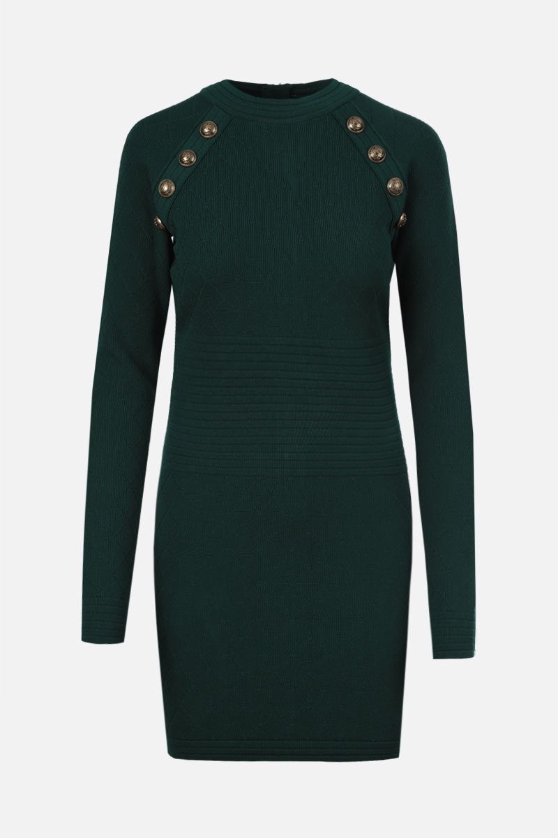 BALMAIN: miniabito in viscosa stretch a rombi Colore Verde_1