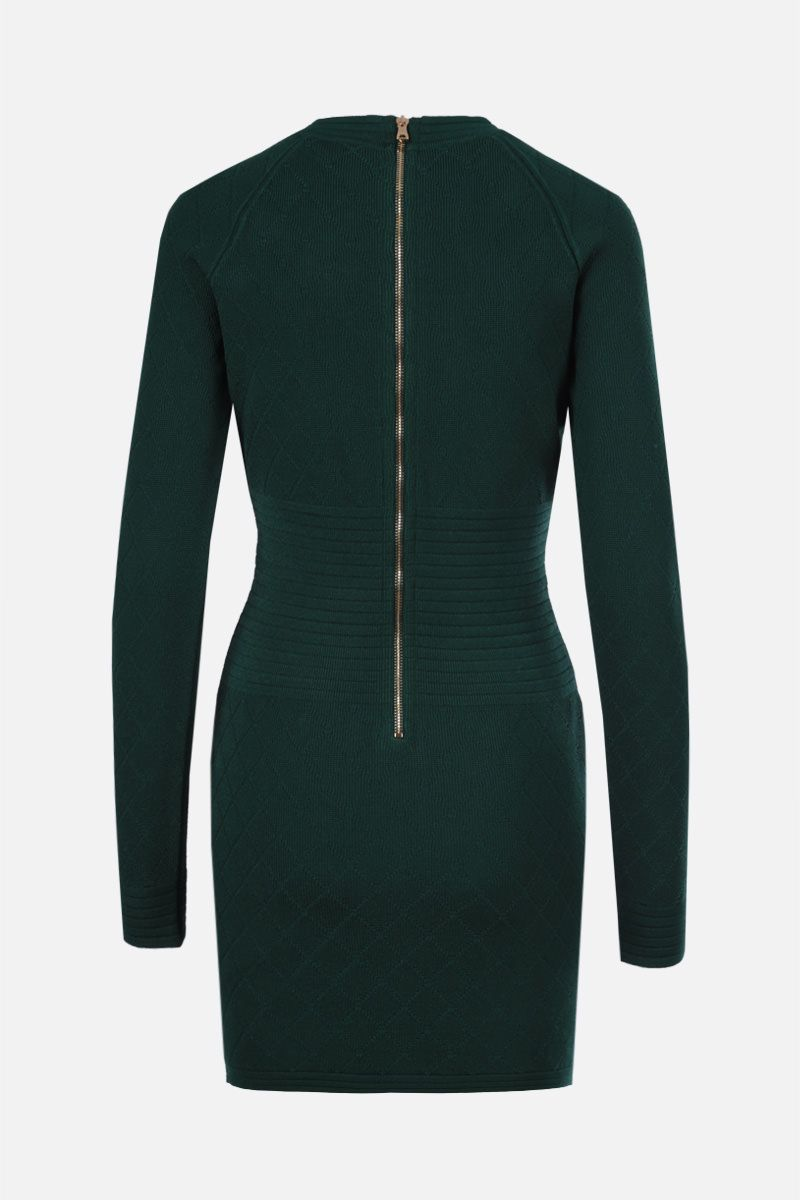 BALMAIN: miniabito in viscosa stretch a rombi Colore Verde_2