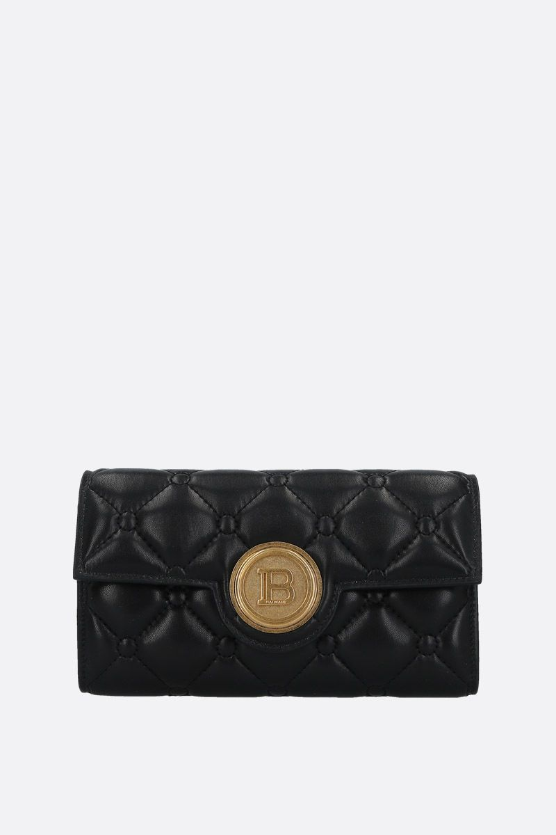 BALMAIN: quilted nappa wallet on chain Color Black_1