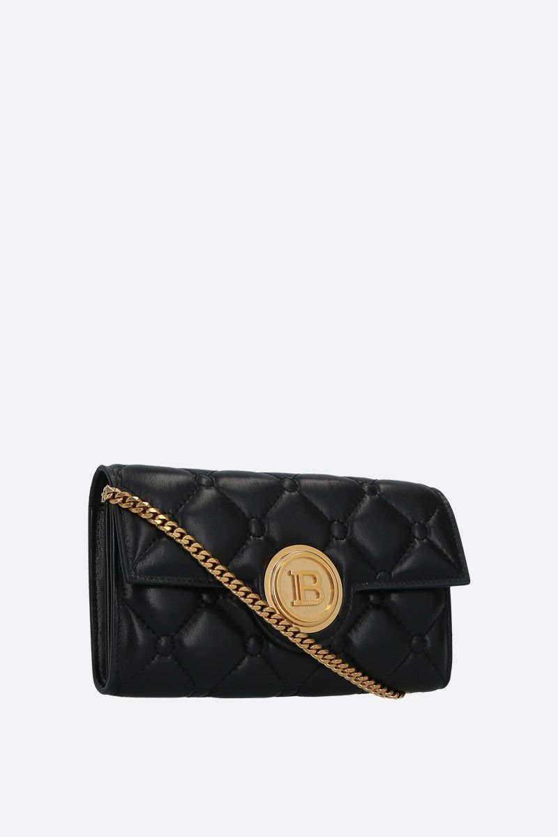 BALMAIN: quilted nappa wallet on chain Color Black_2