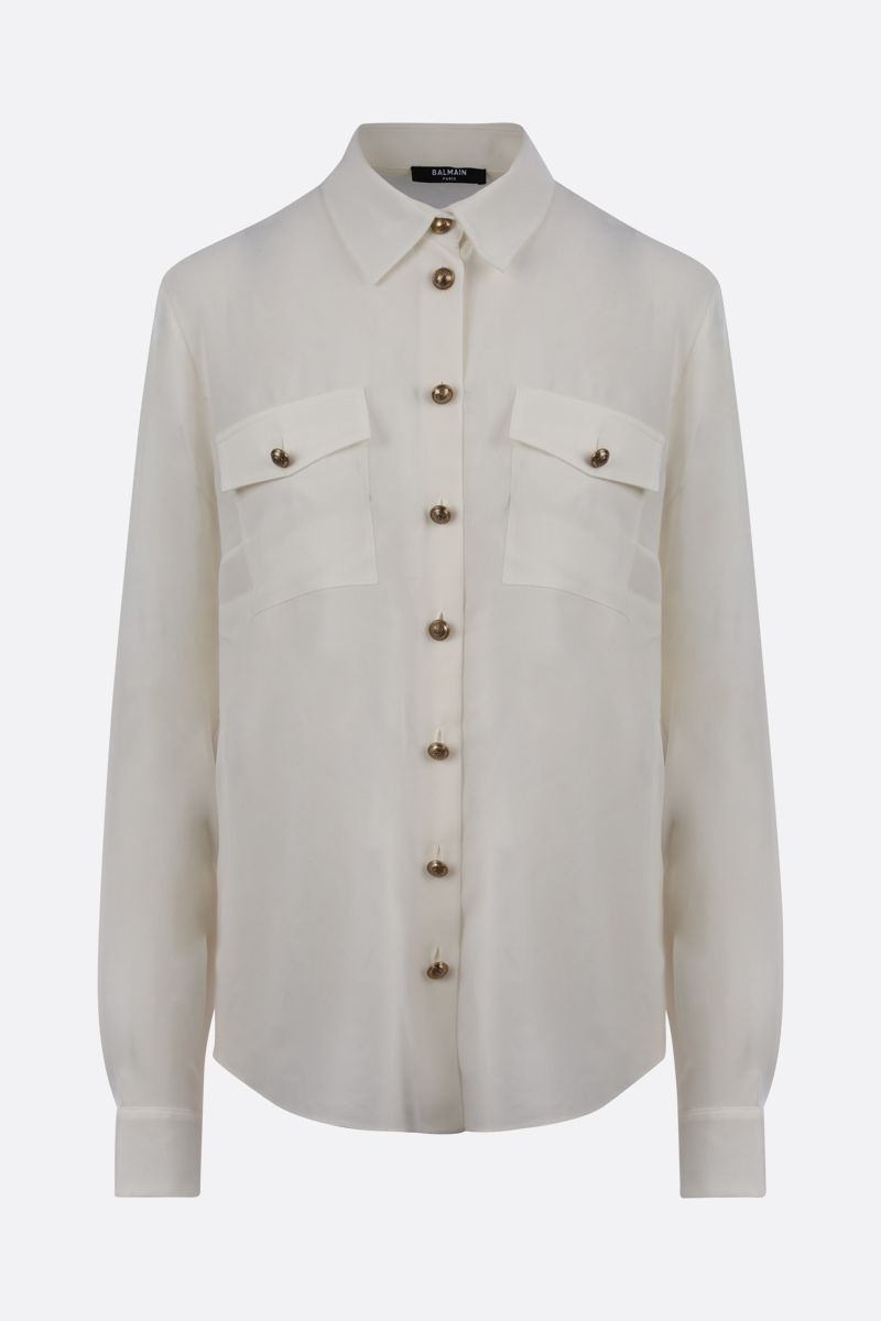 BALMAIN: logoed button-detailed siilk shirt Color White_1