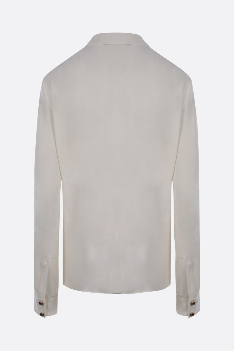 BALMAIN: logoed button-detailed siilk shirt Color White_2