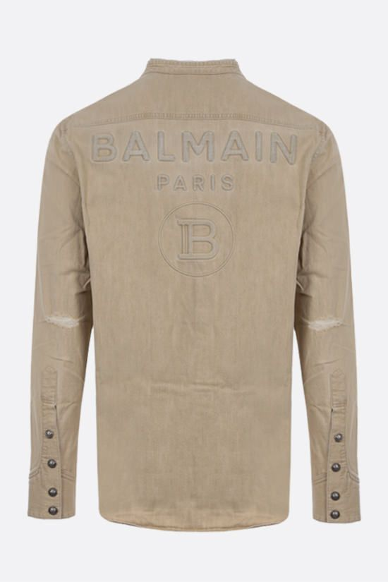 BALMAIN: distressed-effect denim shirt Color Neutral_2
