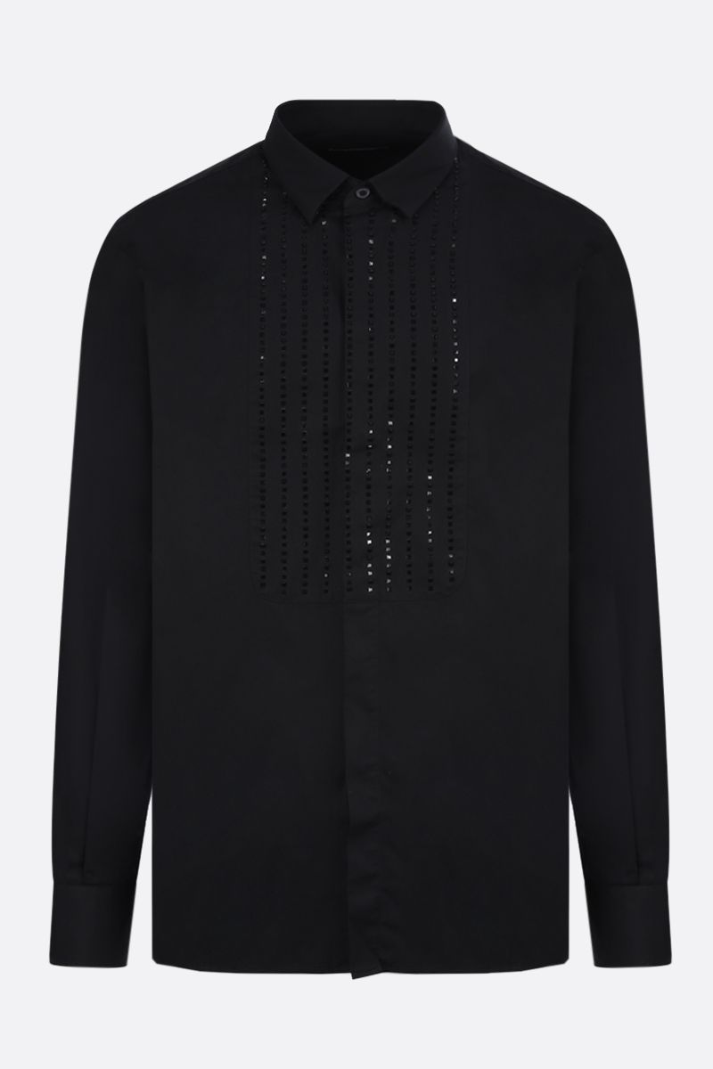 BALMAIN: sparkling bib-detailed cotton shirt Color Black_1