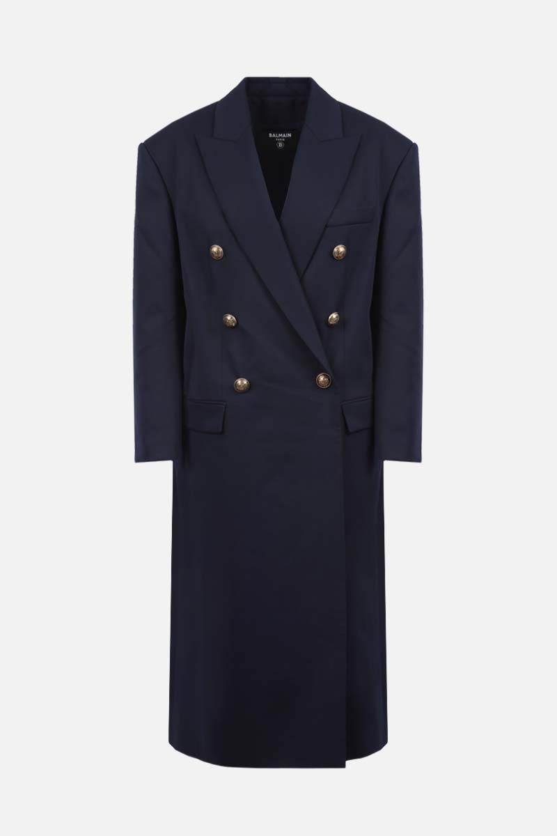 BALMAIN: oversize wool double-breasted coat Color Blue_1