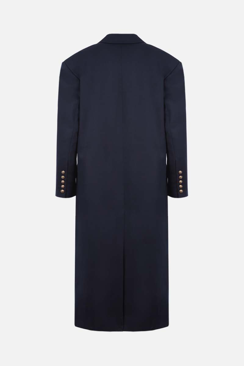 BALMAIN: oversize wool double-breasted coat Color Blue_2