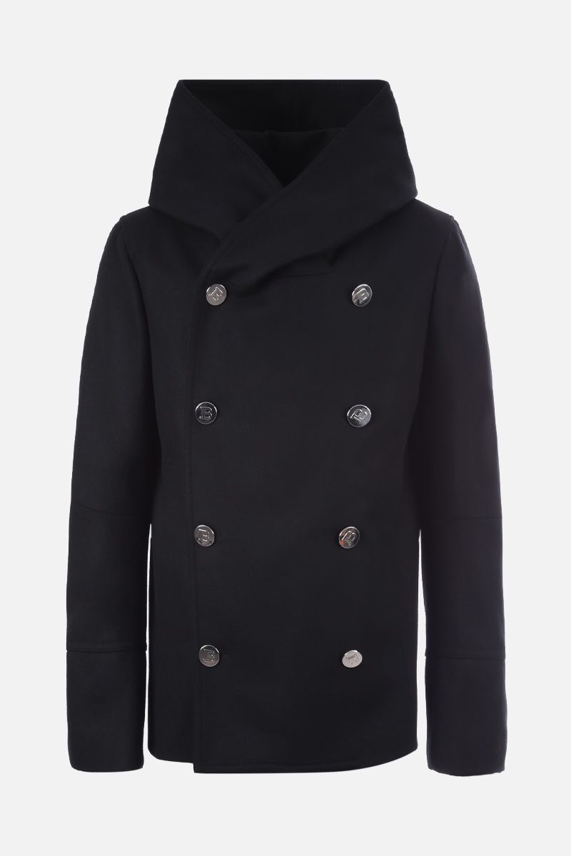 BALMAIN: wool blend hooded double-breasted coat Color Black_1