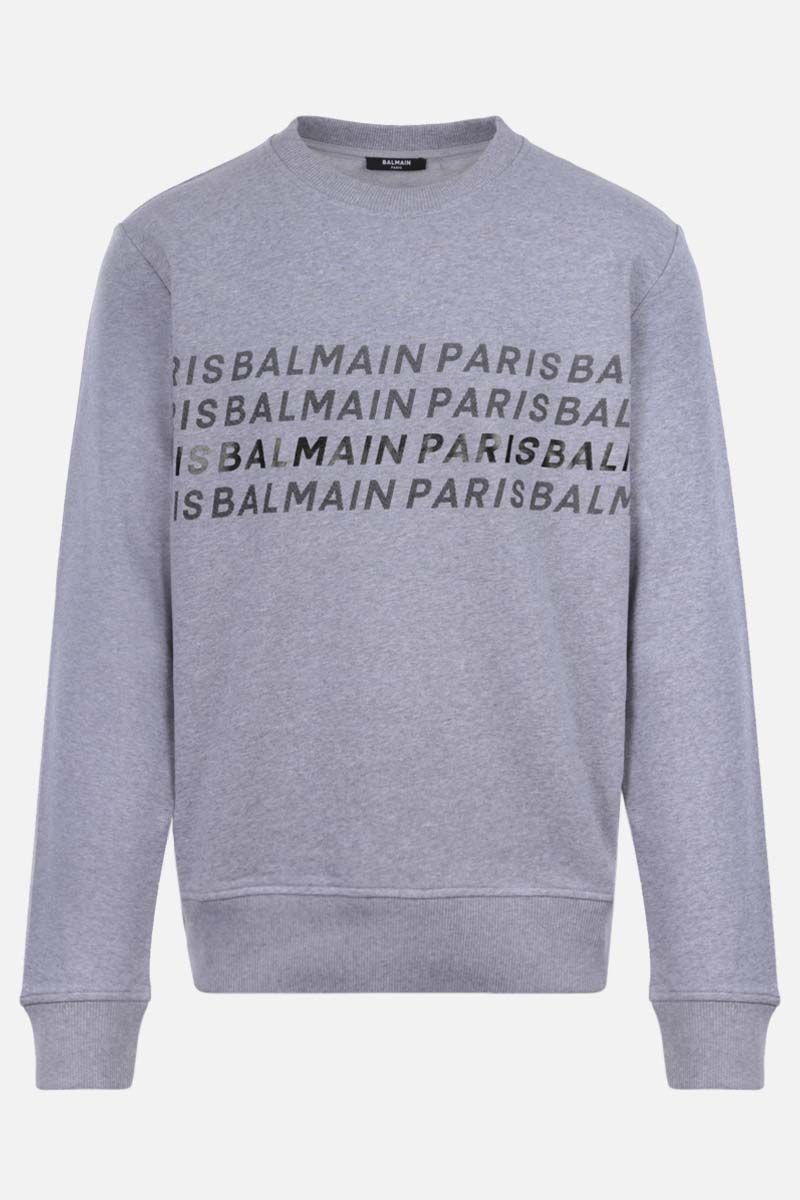 BALMAIN: Balmain Paris print cotton sweatshirt Color Grey_1