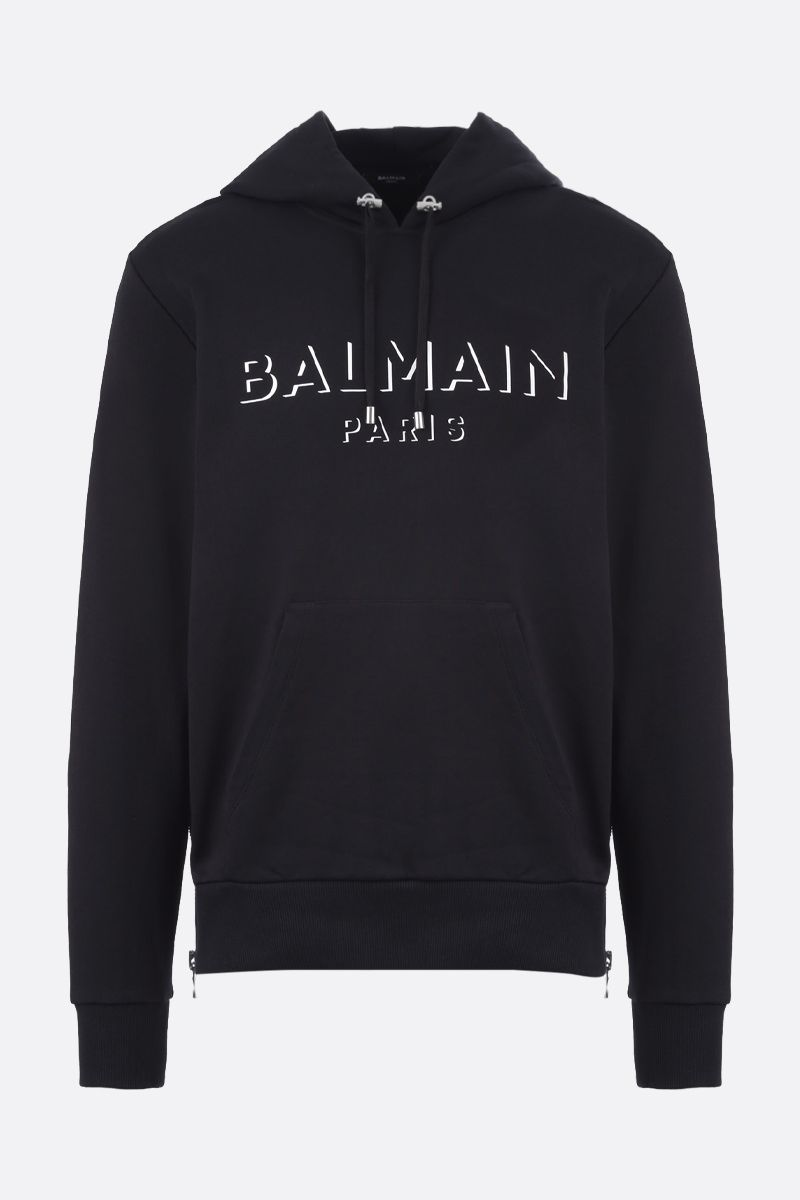 BALMAIN: 3D-effect Balmain logo print cotton hoodie Color Black_1