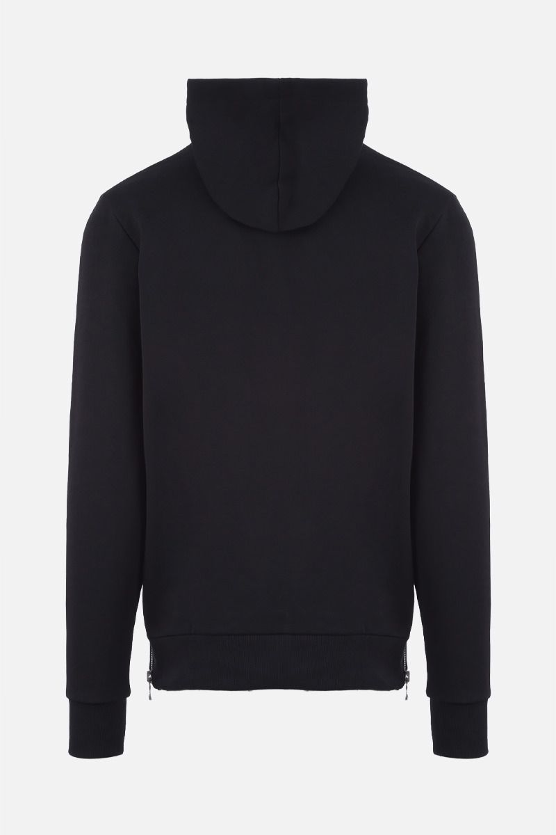 BALMAIN: 3D-effect Balmain logo print cotton hoodie Color Black_2