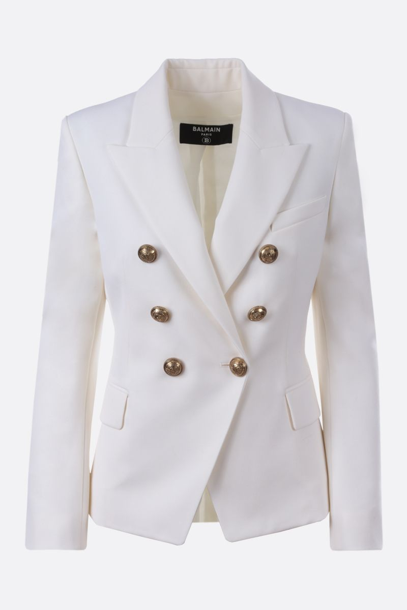 BALMAIN: wool double-breasted jacket Color White_1
