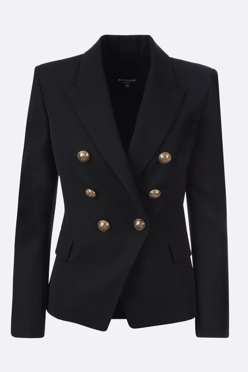 BALMAIN: wool double-breasted jacket Color Black_1