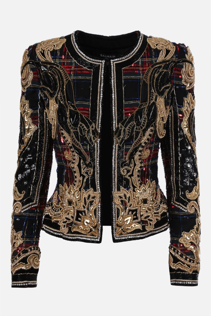 BALMAIN: embroidered tartan wool jacket Color Multicolor_1