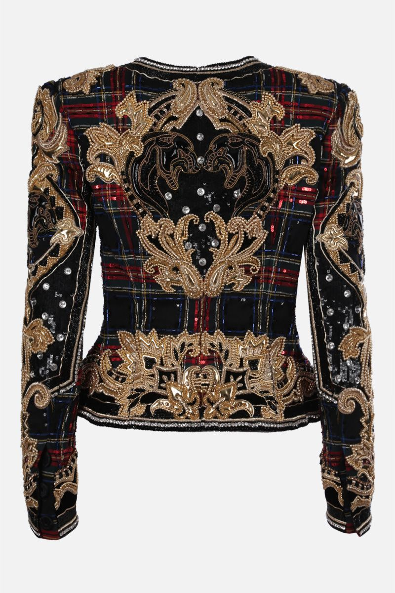 BALMAIN: embroidered tartan wool jacket Color Multicolor_2