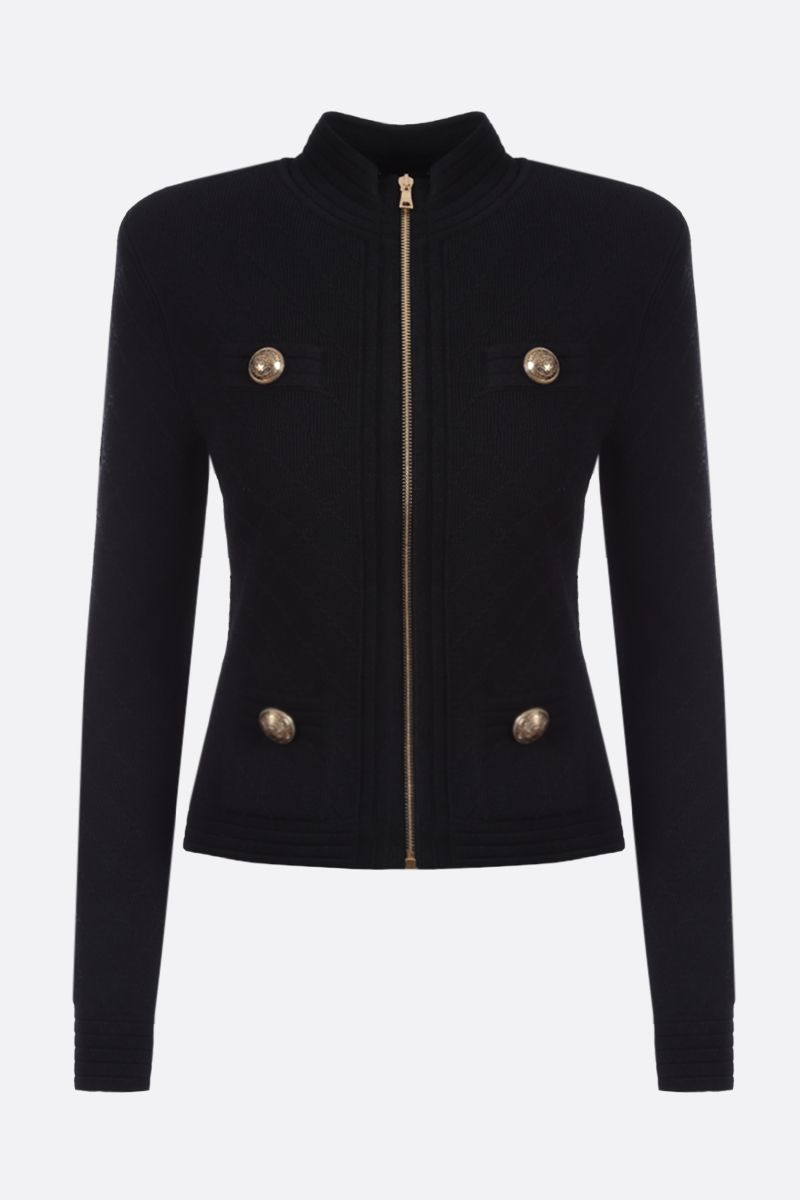 BALMAIN: stretch knit full-zip jacket Color Black_1