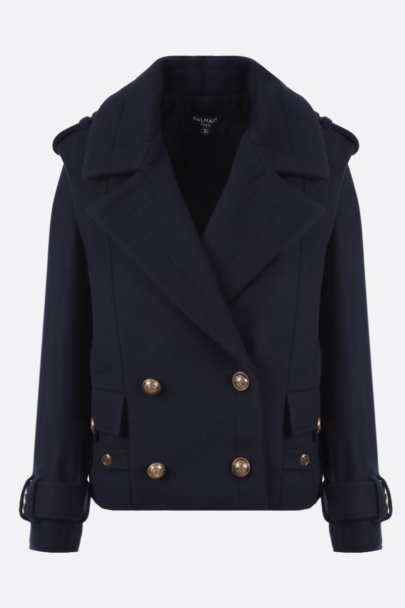 BALMAIN: wool cashmere blend double-breasted jacket Color Blue_1