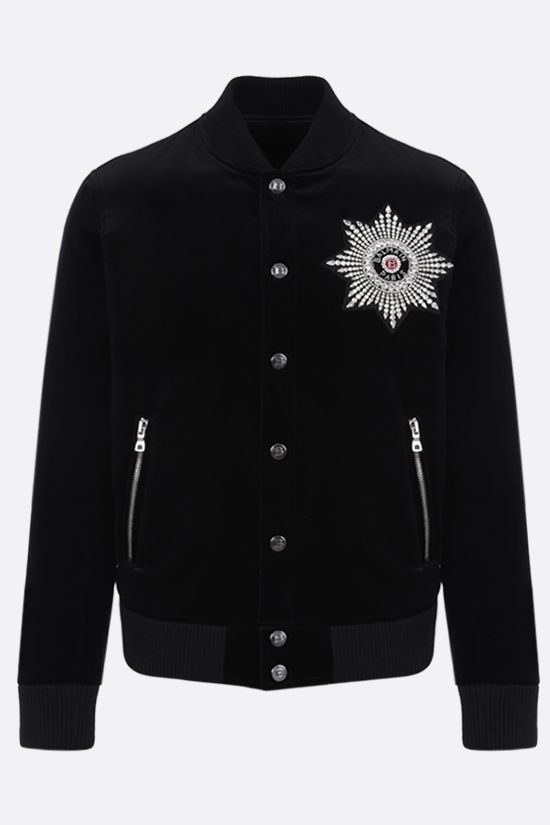 BALMAIN: star patch velvet bomber jacket Color Black_1