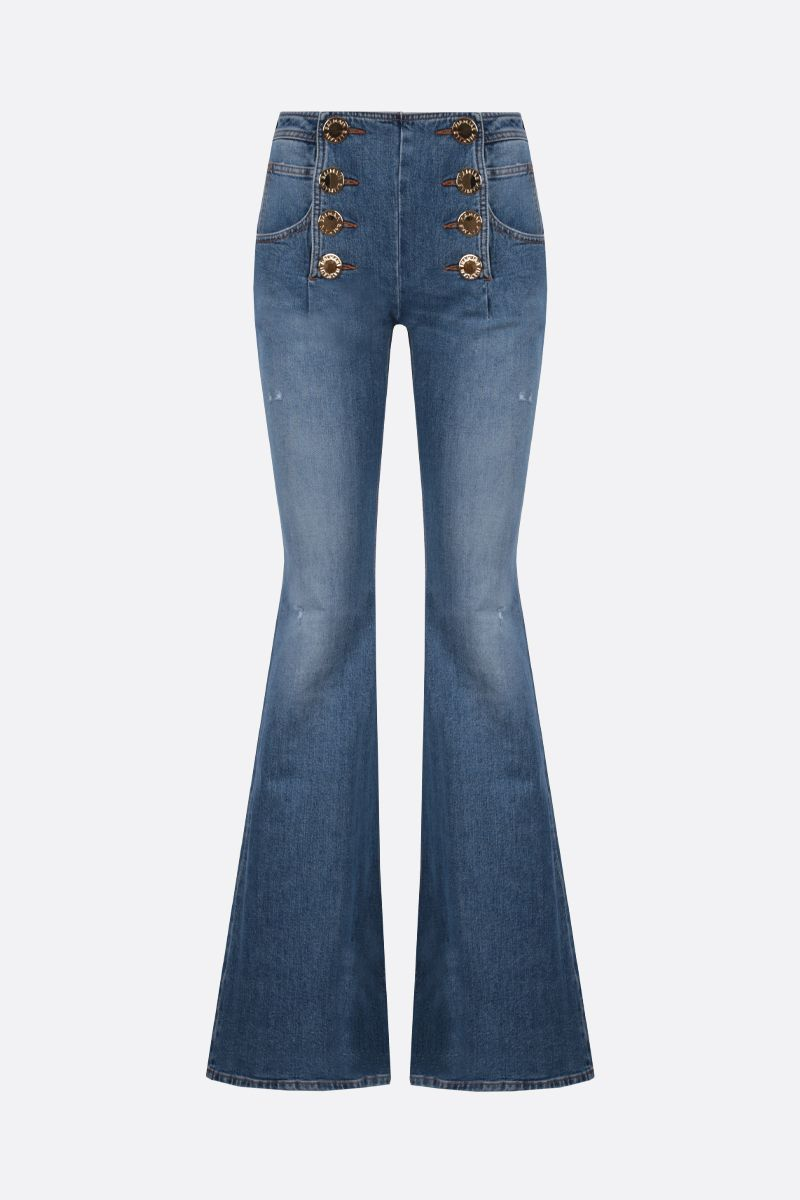 BALMAIN: decorative buttons-detailed flare jeans Color Blue_1