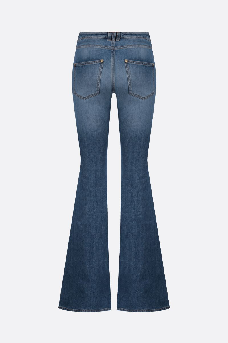 BALMAIN: decorative buttons-detailed flare jeans Color Blue_2