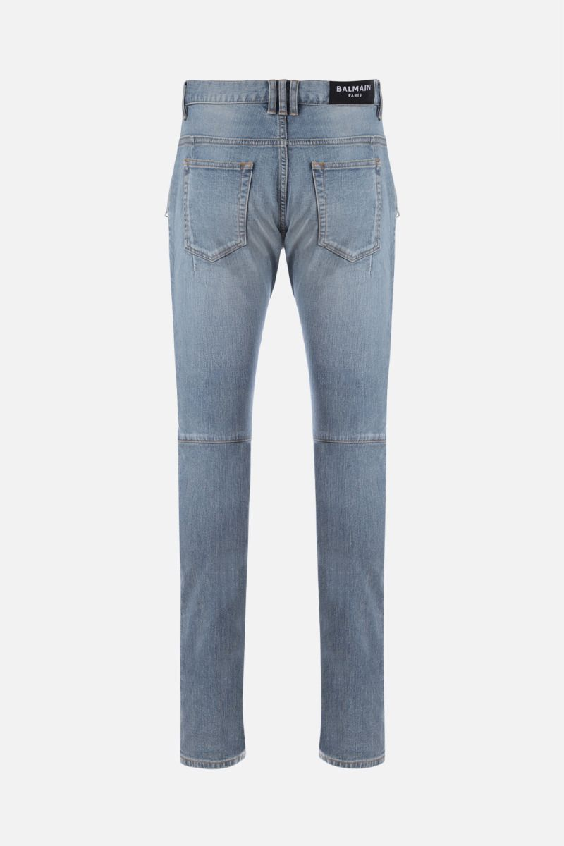 BALMAIN: distressed-effect biker jeans Color Blue_2