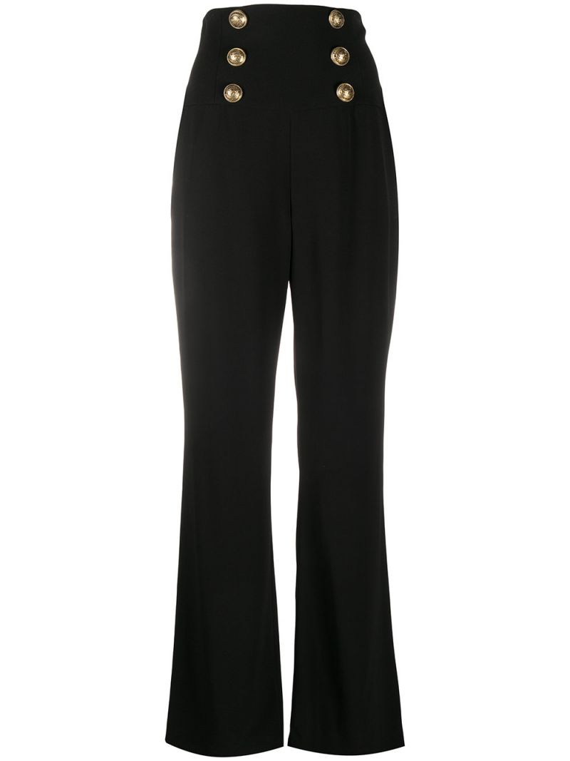 BALMAIN: button-detailed cady wide-leg pants Color Black_1
