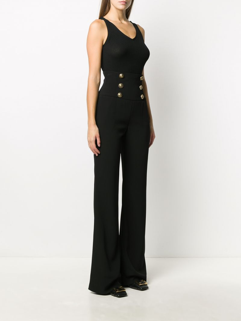 BALMAIN: button-detailed cady wide-leg pants Color Black_2
