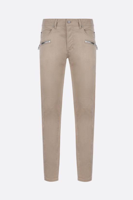 BALMAIN: tapered-fit stretch cotton pants Color Neutral_1