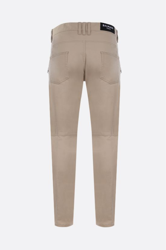 BALMAIN: tapered-fit stretch cotton pants Color Neutral_2