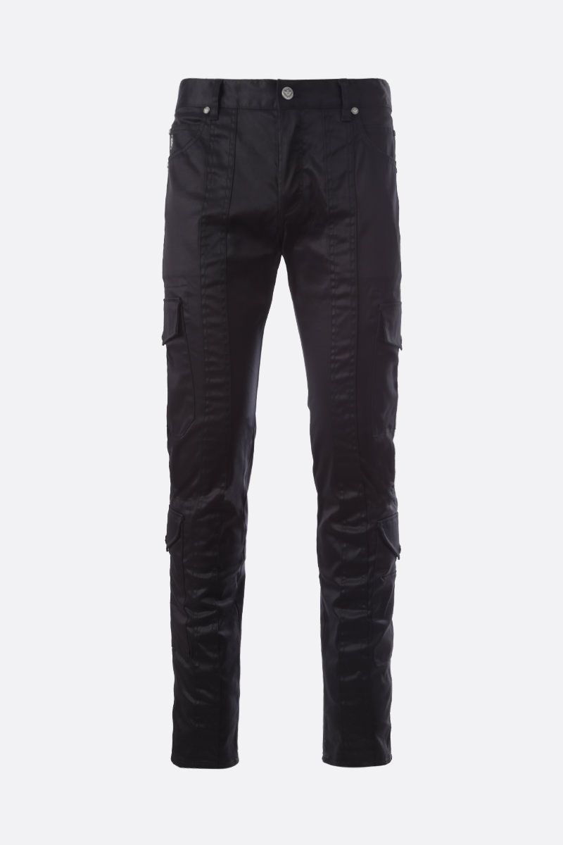 BALMAIN: Balmain logo embroidered stretch cotton cargo pants Color Black_1