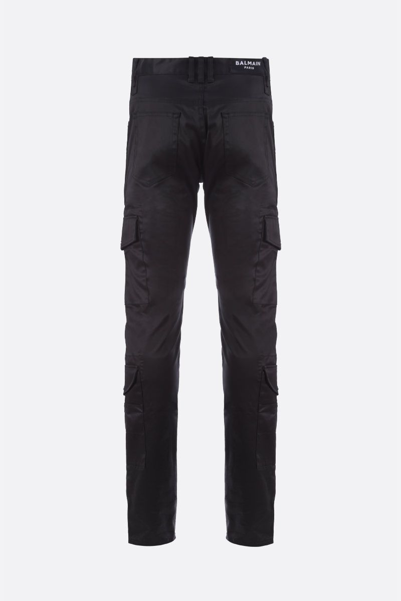 BALMAIN: Balmain logo embroidered stretch cotton cargo pants Color Black_2