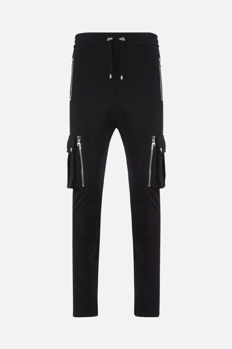 BALMAIN: Balmain logo print cotton cargo pants Color Black_1