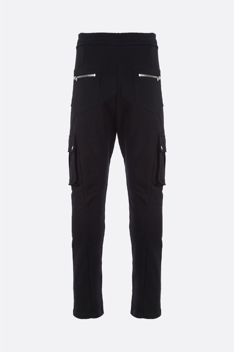 BALMAIN: Balmain logo print cotton cargo pants Color Black_2