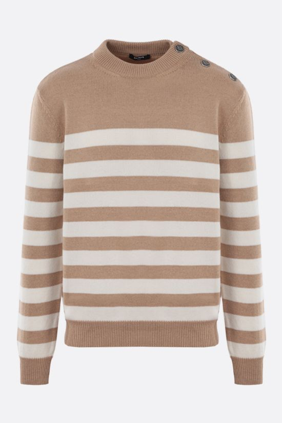 BALMAIN: striped wool cashmere blend pullover Color Neutral_1