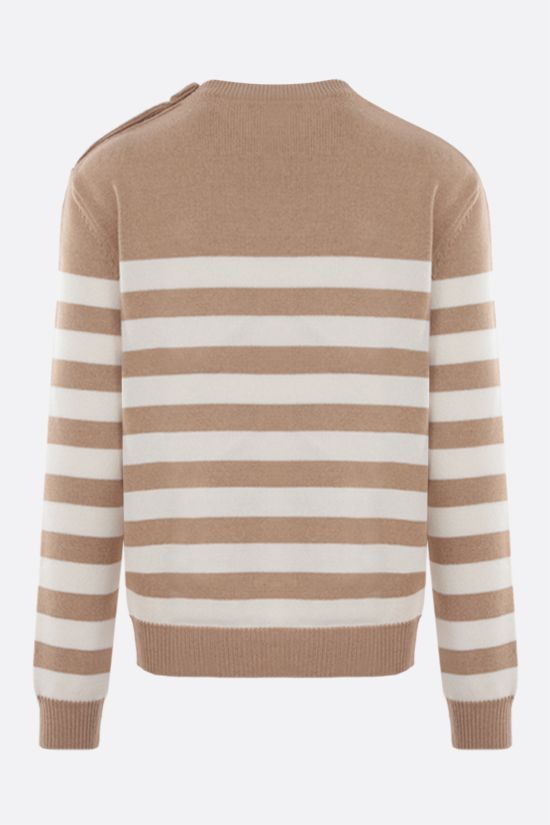 BALMAIN: striped wool cashmere blend pullover Color Neutral_2
