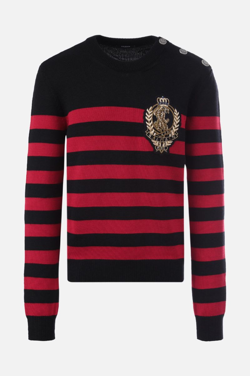 BALMAIN: Balmain patch striped wool cotton blend pullover Color Black_1