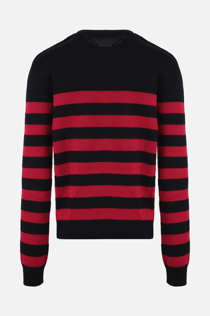 BALMAIN: Balmain patch striped wool cotton blend pullover Color Black_2