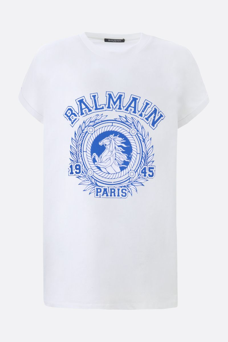 BALMAIN: Balmain Paris 1945 print cotton t-shirt Color White_1